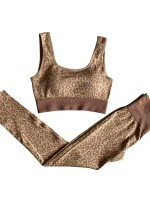 Khaki Wide Straps Seamless High Waist Yoga Suit For Ladies