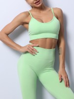 Green Backless Spaghetti Straps Yoga Wear Suit Medium Support
