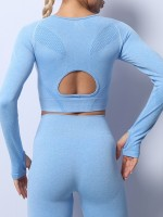 Blue Back Hollow Knitted Seamless Yogawear Suit Stretchable