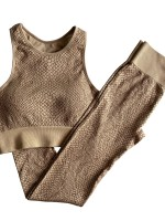 Coffee Color Athletic Suit Wide Waistband Snake Pattern For Girls