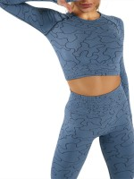 Blue Seamless Sports Suit Thumbhole Full Length Fabulous Fit