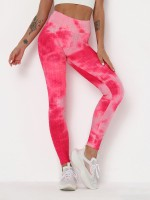Amazing Pink Tummy Control Tie-Dye Running Pants For Girl Runner