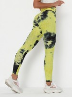 Yellow Yoga Legging Tie Dyed Tummy Control For Outdoor Activity