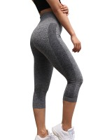 Casual Gray High Rise Sports Legging 3/4 Length Latest Fashion