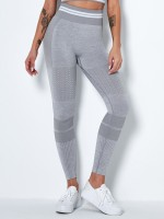 Athletic Light Gray High Rise Yoga Leggings Full Length Quick Drying