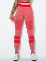 Premium Quality Red Ankle Length Knit Running Leggings Ladies Sportswear