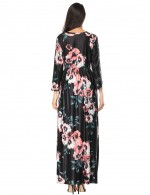 Charming Full Sleeves Flower Print Maxi Dress Pockets