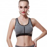 New Grey Zipper Crossover Fashion Fitness Sports Bra Top
