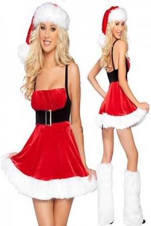 Red Christmas Black Belt Costume Dress Above Knee Length