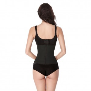 Wholesale Black Latex Zip and Clip Waist Cincher  With Hooks
