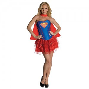 Red and Blue Superhero Costume Mini Skirt Ruffled Trim