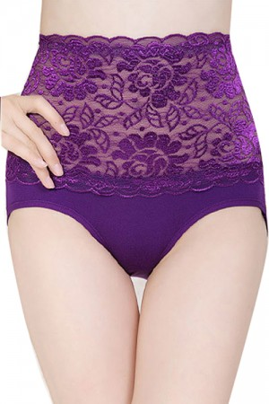 Purple High Waist Lace Ladies Sexy Underwear Panty