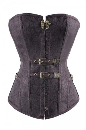 Retro Floral Steampunk Hook Eye Buckle Overbust Corset