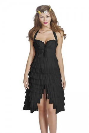 Multi Tiered Mature Black Lace Up Sexy Corset Dress