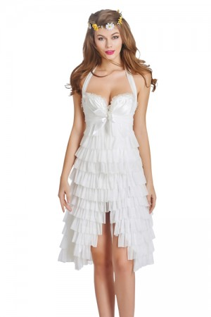 Sexy Women White Lace Up Corset Dress for Sale