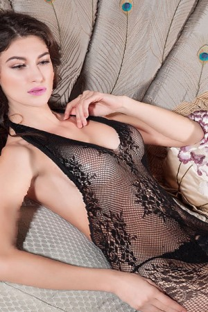 Halter Neck Black Fishnet Open Crotch Bodystocking