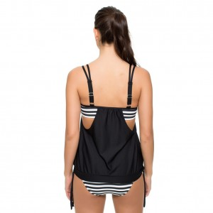 Black Women Stripes Lined Up Double Up Tankini Top Swimwear