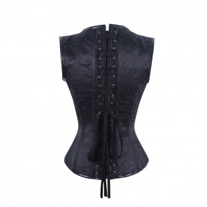 Women's Gothic Steampunk Jacquard Overbust Corset Vest with Buckles