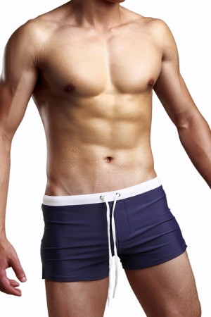 Men Zipper Nylon Swimming Boxers Short