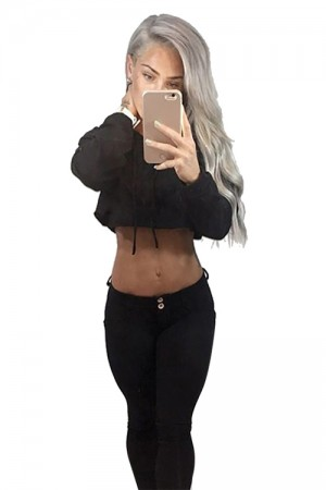 Long Sleeve Black Womens Plain Crop Top Hoodies