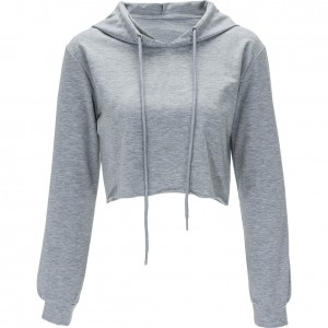 Grey Womens Yourself Limited Hoodie Crop Top Sweatshirts