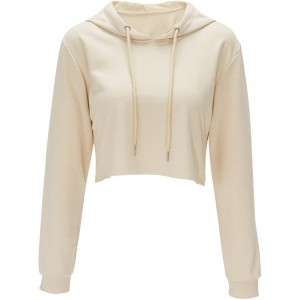 Self Tie Apricot Womens Plain Crop Top Hoodies