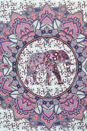 Polyester Elephant Lotus Mandala Tapestry Room Accessory Cover