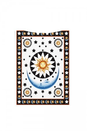 Polyester Digital Printed Star Moon Printed Square Tapestry