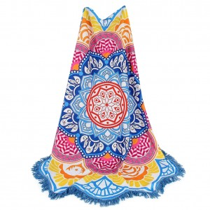 Polyester Indian Mandala Flower Shape Beach Towel