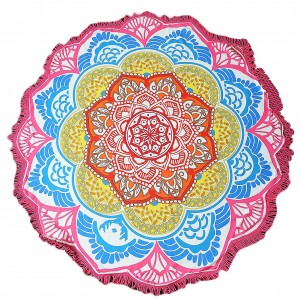 Polyester Colorful Mandala Flower Shape Beach Towel