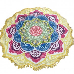 Polyester Lotus Shape Beach Blanket With Beautiful Tassels
