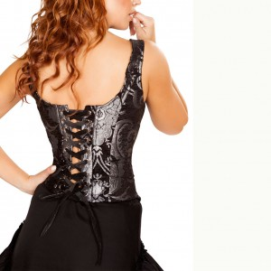 Elegant Brocade Print Wide Straps Lace-Up Back Overbust Corset