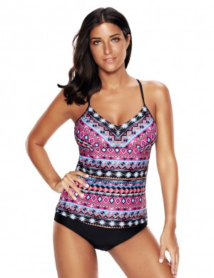 Catching Mix Color Matching Triangle Cut Tankini 2 Piece