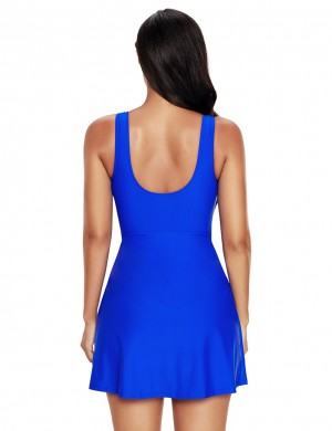 Plus Size Solid Blue Gold Ring Swimming Dress Mini Length