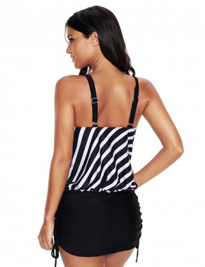 Big Swimming Striped Pattern Suit Open Back Wide Adjustable Straps