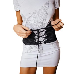 Practical Black Lace-Up Closure Hallow Out Knitting Corset