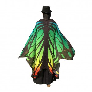 Fabulous Butterfly Wing Pattern Chiffon Colorful Cloak