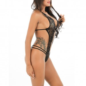 Lustful Two Clasp Front Halter Lace Teddy Open Back And Real