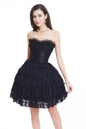Glamorous Slimming Black Lace Corset Dress Ruffle Layered