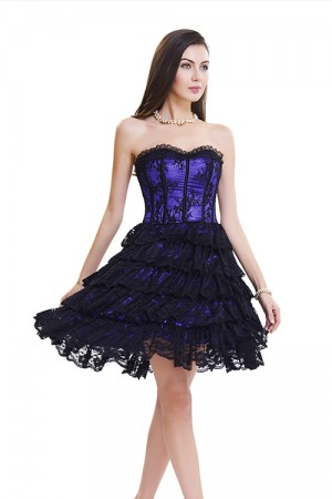 Stunning Purple And Black Lace Evening Corset Dress