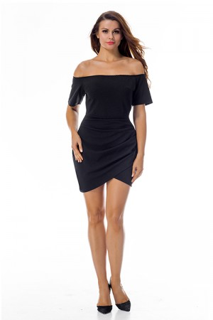 Attractive Short Sleeve Black Slash Neck Dress Ruched Side