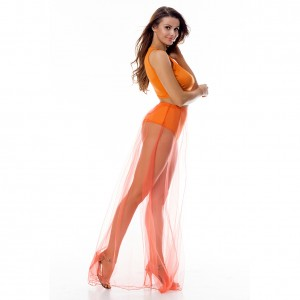 Lively Crop Top Slit Orange Two Piece Dress Mesh Cover