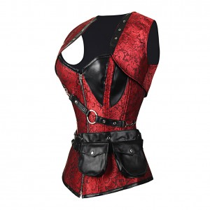 Fabulous Red 24 Steel Bones Jacquard Corset Leather Pocket