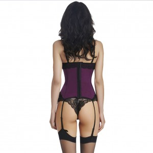 Slimming Lace Trim Girdle Corset Waist Cincher With 4pcs Garter Belt