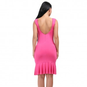 Leisure Thick Straps Flounce Hem Dress Bodycon