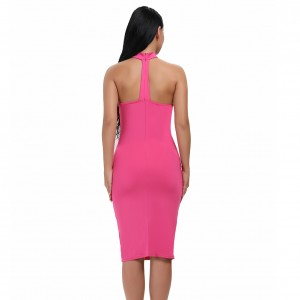 Wholesale Off The Shoulde T Back Dress Rose Red