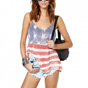 Distressed American Flag Low Back Cami Tank Top Side Slit