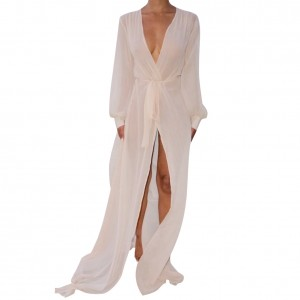 Fantasy White Full Length Bikini Cover Up Long Sleeves