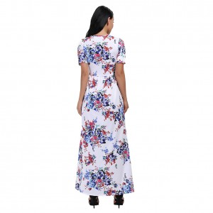 Vintage Floral Short Sleeve Two Pockets Maxi Dresses