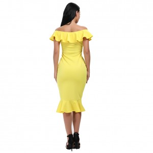 Striking Yellow Off Shoulder Ruffles Hem Bodycon Dress